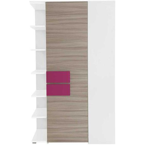 Jugendzimmer Eckschrank in Holz Pink mit Regal
