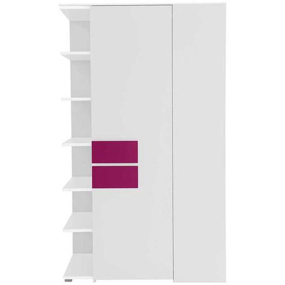Jugendzimmer Eckschrank in Weiß Pink Tür rechts