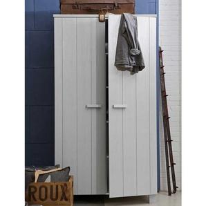 Jugendzimmer Kleiderschrank in Beton Grau Kiefer Massivholz