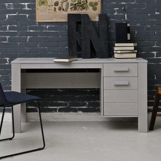Jugendzimmer Schreibtisch in Beton Grau Kiefer Massivholz