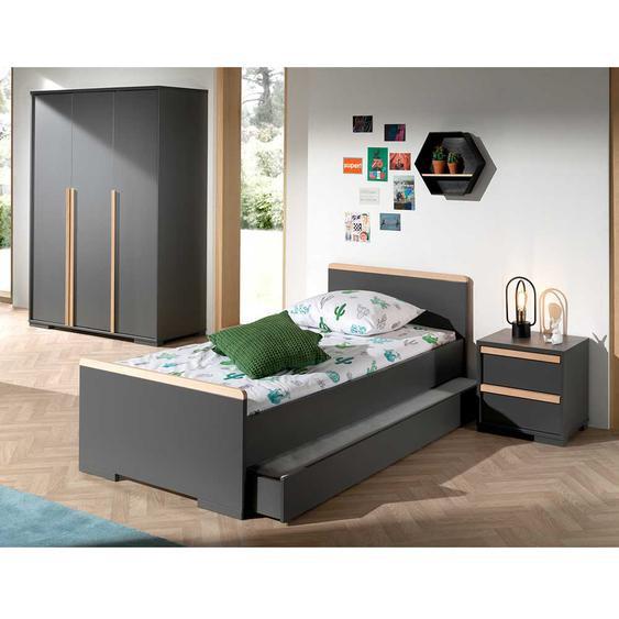 Jugendzimmer Set in Anthrazit und Buche 90x200 cm Bett (3-teilig)