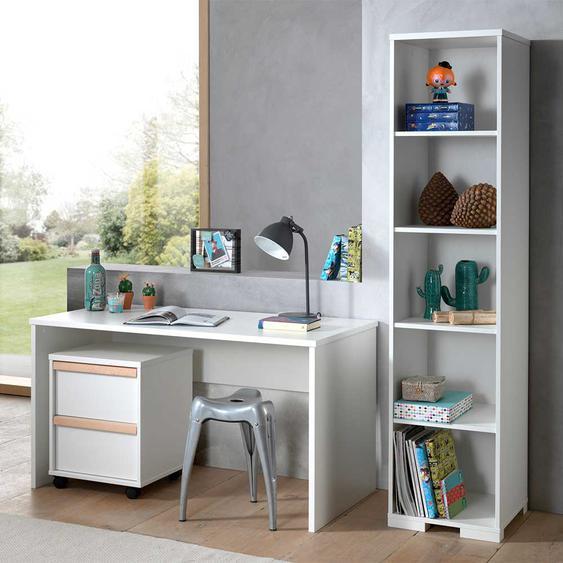 Jugendzimmer Set in Weiß und Buche Rollcontainer (3-teilig)