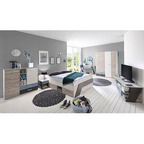 Jugendzimmer Set mit Bett 140x200 cm und Schreibtisch 6-teilig LEEDS-10 in Sandeiche Nb. mit weiß, Lava und Denim Blau
