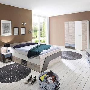 Kinderzimmer Set mit Bett 140x200 cm für Jungen in Sandeiche Nb. mit weiß, Lava 3-teilig LEEDS-10 und Denim Blau