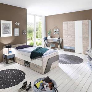Jugendzimmer Set mit Schreibtisch 4-teilig LEEDS-10 in Sandeiche Nb. mit weiß, Lava und Denim Blau