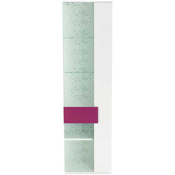 Jugendzimmer Vitrine in Pink Weiß Dekor Glas