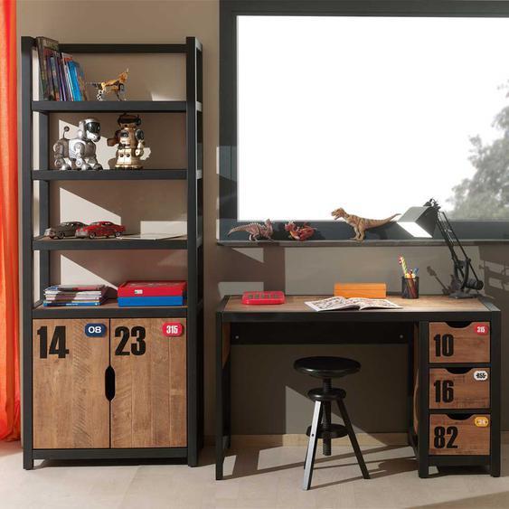 Jugendzimmermöbel in Braun Schwarz Kiefer teilmassiv (2-teilig)