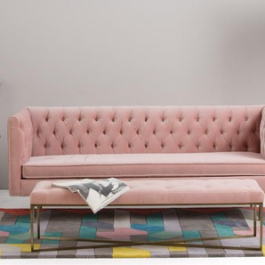 Julianne 3-Sitzer Sofa, Samt in Zartrosa