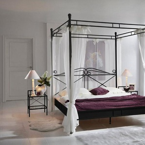 Junado® Himmelbett »Venezia«, Doppelbett 180cm schwarz