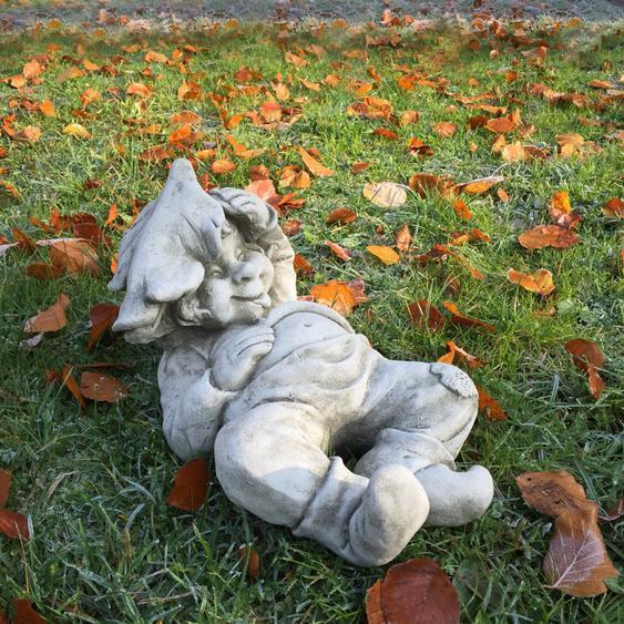 Junge schlafend mit Blatt Teich Dekoration Gartenfiguren Steinfiguren wetterfest