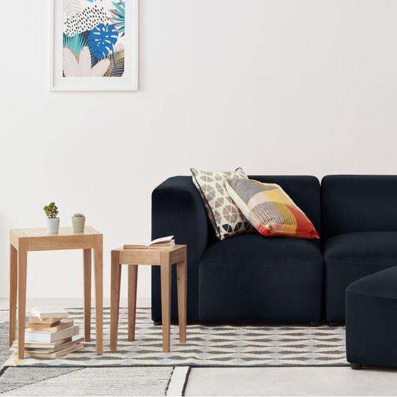 Juno modulares 2-Sitzer Sofa mit Hocker, Samt in Abendblau