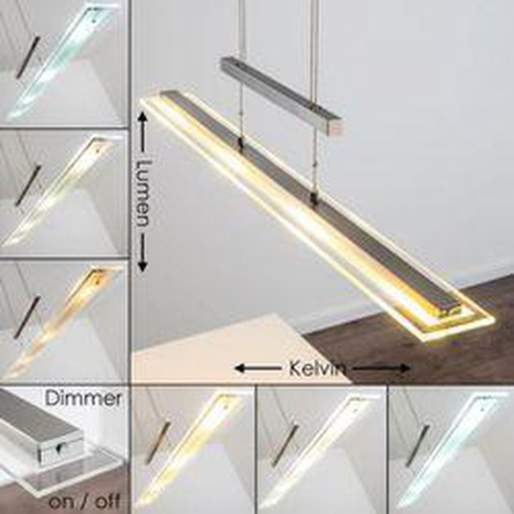 Junsele Pendelleuchte LED Nickel-Matt, 1-flammig - Modern - Innenbereich - versandfertig innerhalb von 2-3 Wochen