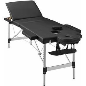 Juskys 3-Zonen Massageliege – klappbar & höhenverstellbar – mobile Alu Kosmetikliege mit Kopfschütze, Armlehnen & Tasche - 180 x 60 cm - Schwarz