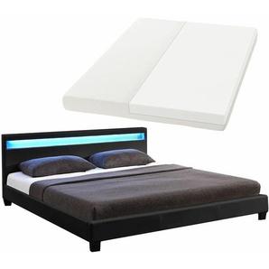 ArtLife Polsterbett Paris 160 x 200 cm Einzelbett Doppelbett in schwarz mit Kaltschaummatratze