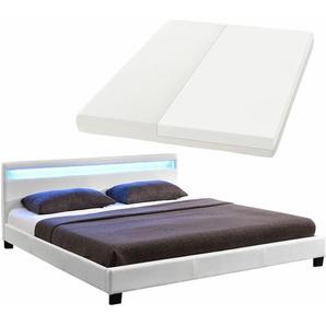 ArtLife Polsterbett Paris 160 x 200 cm Einzelbett Doppelbett in weiß mit Kaltschaummatratze