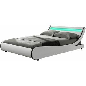 ArtLife Polsterbett Bett Valencia 140 x 200 cm weiß mit Kaltschaummatratze Einzelbett mit LED-Beleuchtung und Lattenrost