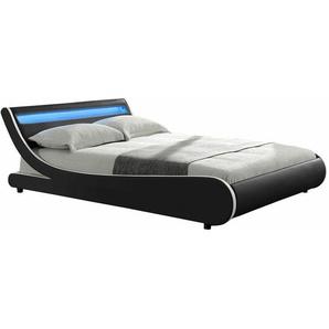 ArtLife Polsterbett Bett Valencia 180 x 200 cm schwarz mit Kaltschaummatratze Einzelbett mit LED-Beleuchtung und Lattenrost