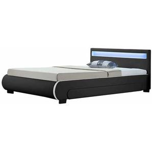 Polsterbett Bilbao 180 x 200 cm Bettgestell mit Bettkästen, LED Beleuchtung & Lattenrost Kunstleder Bett schwarz Doppelbett | ArtLife