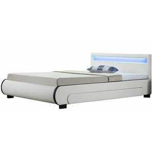 Polsterbett Bilbao 180 x 200 cm Bettgestell mit Bettkästen, LED Beleuchtung & Lattenrost Kunstleder Bett weiß Doppelbett | Artlife