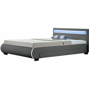 Polsterbett Bilbao 140 x 200 cm Bettgestell mit Bettkästen, LED Beleuchtung & Lattenrost Kunstleder Bett grau Jugendbett | ArtLife