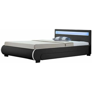 Polsterbett Bilbao 140 x 200 cm Bettgestell mit Bettkästen, LED Beleuchtung & Lattenrost Kunstleder Bett schwarz Jugendbett | ArtLife