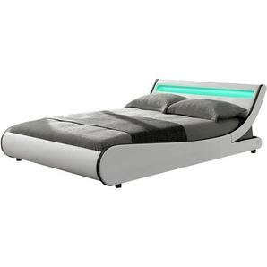 ArtLife Polsterbett Bett Valencia 140 x 200 cm weiß Einzelbett mit LED-Beleuchtung und Lattenrost