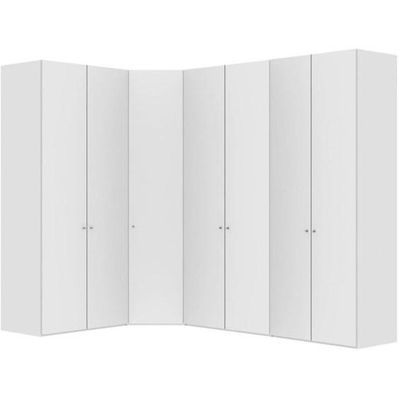 Jutzler Eckschrank Weiß , Holzwerkstoff , 4 Fächer , 195.7x236x296.3 cm