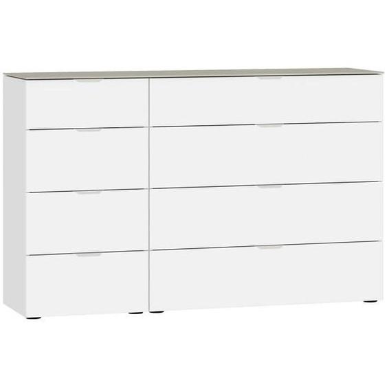 Jutzler Kommode Weiß, Beige , Glas , 8 Schubladen , 135x87x43 cm