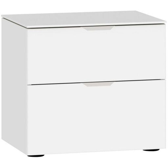 Jutzler Nachtkästchen Weiß , Glas , 2 Schubladen , 45x42x43 cm