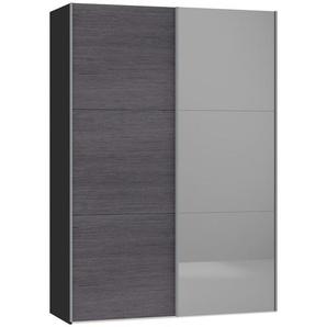 Jutzler Schwebetürenschrank 2-türig Grau, Schwarz , Glas , 152.2x220x46 cm