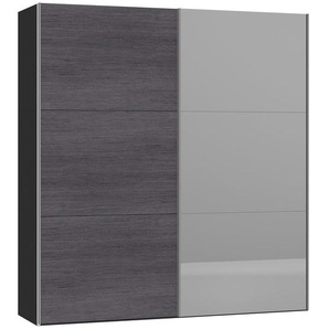 Jutzler Schwebetürenschrank 2-türig Grau, Schwarz , Glas , 202.5x220x46 cm