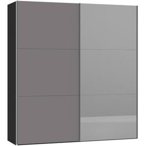 Jutzler Schwebetürenschrank 2-türig Schwarz, Grau , Glas , 202.5x220x46 cm