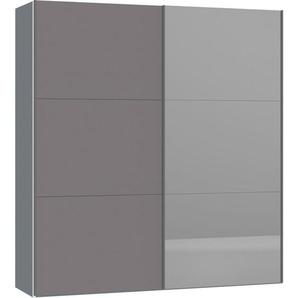 Jutzler: Schwebetürenschrank, Holzwerkstoff, Silber, Dunkelgrau, B/H/T 202,5 220 65