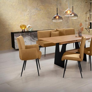 K+W Komfort & Wohnen Essgruppe »Giacomo I«, (6-tlg), Polsterbank, 2 Stühle und 2 Armlehnenstühle mit 4mm umlaufender Keder im Rücken und Sitz, die Polsterbank ist in der Breite 200cm oder 177cm wählbar, Funktionstisch mit Synchronauszug