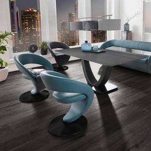 K+W Komfort & Wohnen Essgruppe »Wave«, (Set, 6-tlg), Design-Solobank mit 4 Design-Drehstühlen in zwei verschiedenen Farben und Tisch in 180x90cm