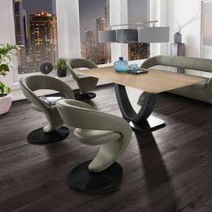 K+W Komfort & Wohnen Essgruppe »Wave«, (Set), Design-Solobank mit 4 Design-Drehstühlen und Tisch in 180x90cm, Tischplatte Wildeiche bianco, Füße Bank / Stühle Metall schwarz Struktur
