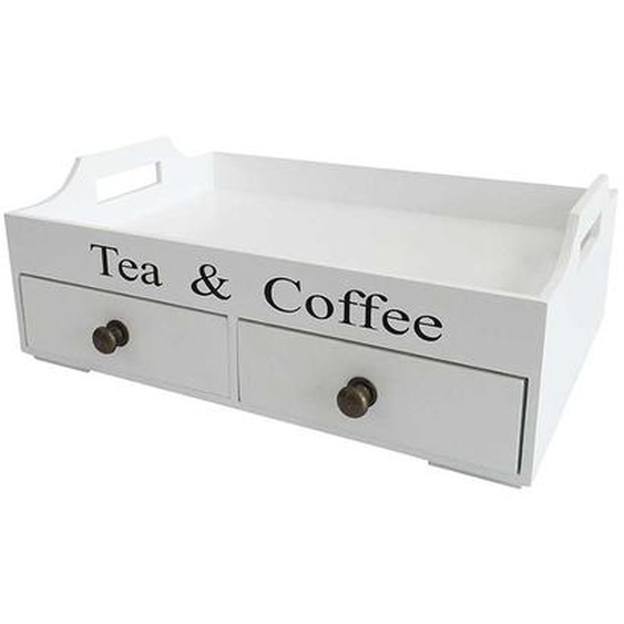 Kaffeetablett mit Schubladen Weiß
