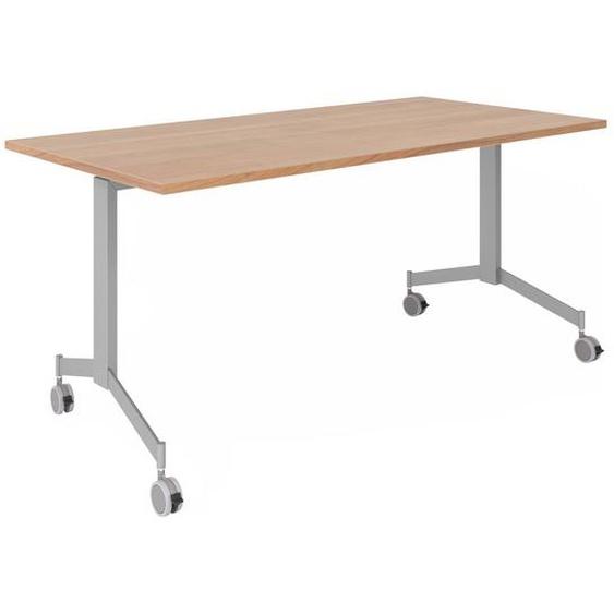 KALA 16 | Klapptisch fahrbar | 160 cm | Silber - Konferenztisch Nussbaum