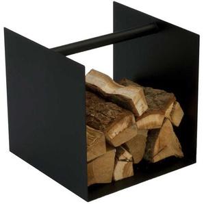 Kaminholz Box in Schwarz Stahl