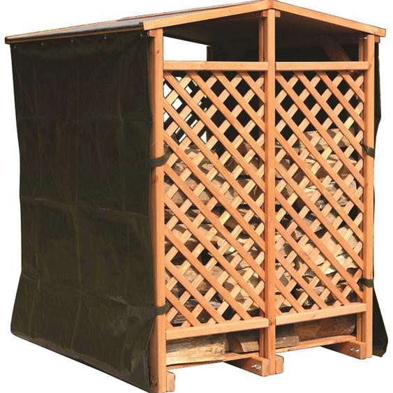 Kaminholzlager 120 cm x 118 cm x 148 cm Honigbraun mit 2 Wetterschutz-Vorhängen