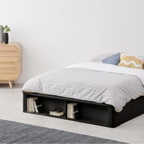 Essentials Kano Bett (140 x 200 cm) mit Stauraum, Schwarz