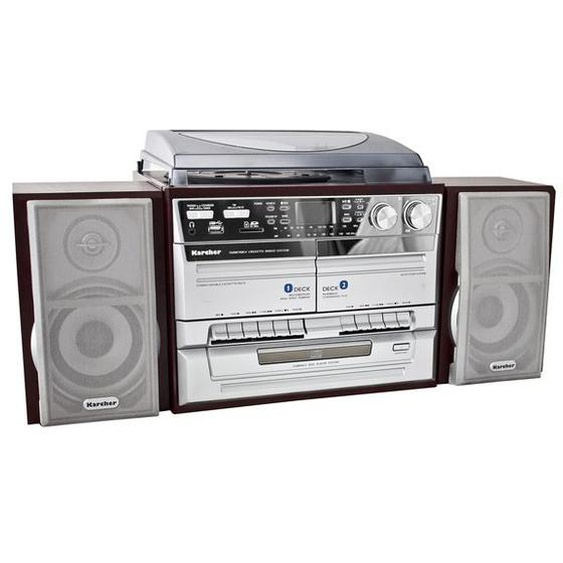 Karcher KA 320 Kompaktanlage mit CD-Player - Radio - Kassette - Plattenspieler - USB / SD