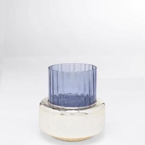 KARE Dekovase Polsino, handgefertigt H: 16,5 cm Ø 15 blau Blumenvasen Pflanzgefäße Wohnaccessoires