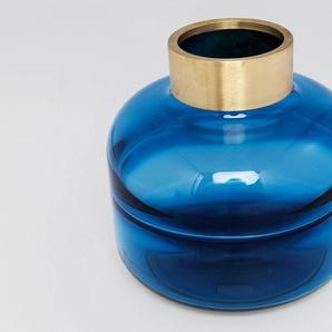 KARE Dekovase Positano, Mundgeblasen H: 21 cm Ø 23 blau Blumenvasen Pflanzgefäße Wohnaccessoires