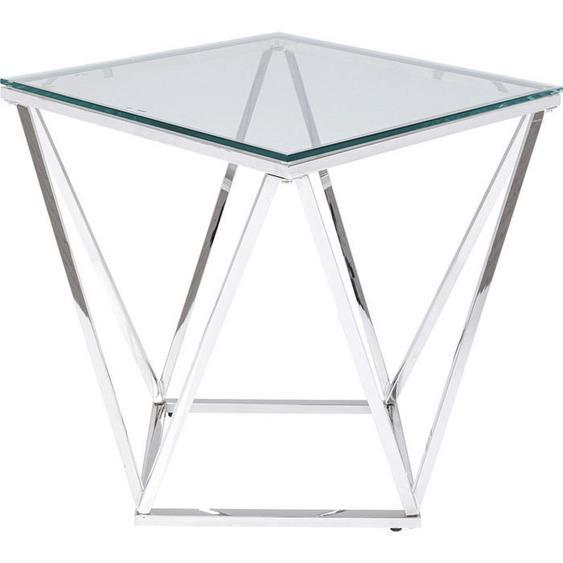 Kare-Design Beistelltisch quadratisch Silber , Metall, Glas , 50x55x50 cm