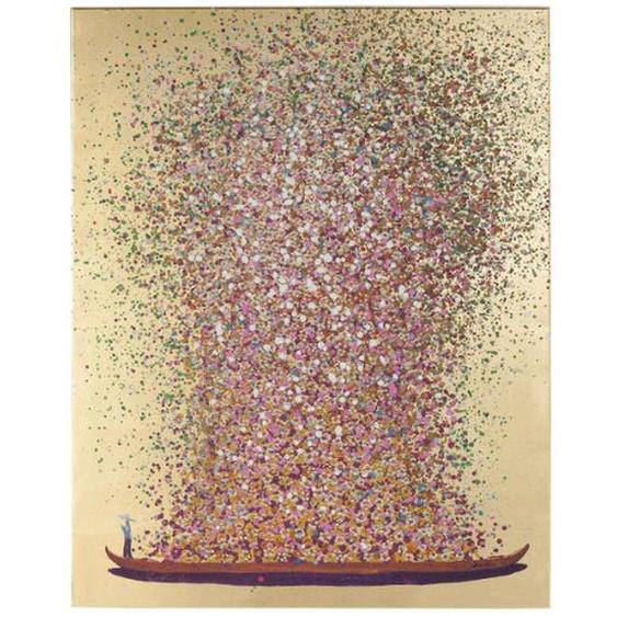 Kare-Design Bild , Rosa, Gold, Rot , Textil , massiv , 120x160x3.5 cm