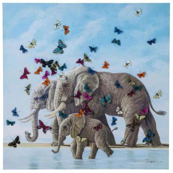 Kare-Design Bild Tiere , Mehrfarbig , Holz, Textil , Tanne , massiv , 120x120x3.5 cm
