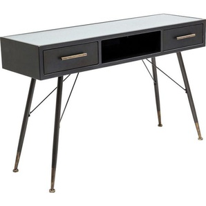 Kare-Design Konsole , Schwarz , Metall, Glas , 2 Schubladen , 38x76 cm , Wohnzimmer, Wohnzimmertische, Konsolentische