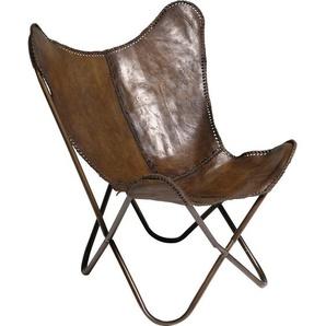 Kare-Design Sessel Butterfly , Braun , Metall, Leder , Echtleder , Rindleder , 80x107x76 cm , Wohnzimmer, Sessel, Polstersessel