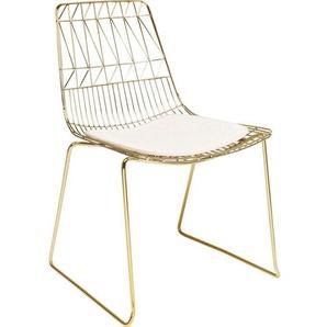 Kare-Design Stuhl Gold, Beige , Gold, Beige , Metall , 57x84x61 cm